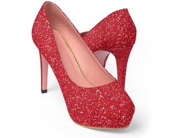 Glitter Platform Heels: Red