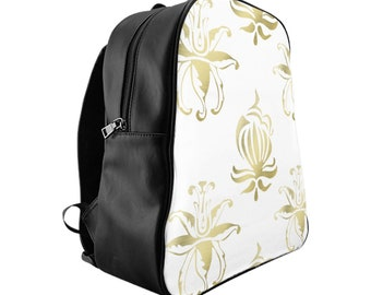 School Backpack, Custom Printed Bag: Gold Floral
