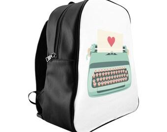 Teal Typewriter School Backpack