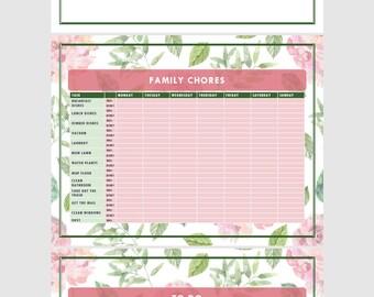 PDF Family Chore Charts: Rose Design