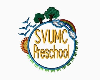SVUMC Preschool, CUSTOM Embroidery File, Monogram, Digital File, Embroidery Pattern, Machine Embroidery, Babylock, Brother, Bernina