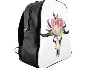 School Backpack, Custom Printed Bag: Floral Skull 2