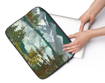 Watercolor Mountains, Custom Printed Laptop Sleeve