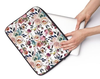Dusty Blue and Misty Rose, Custom Printed Laptop Sleeve