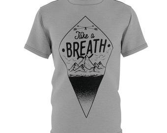 Gray, Take A Breath - Unisex Aop Cut  Sew Tee