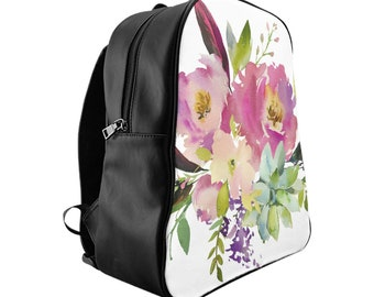 School Backpack, Custom Printed: Floral Design 2