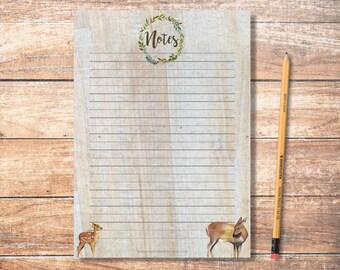 PDF Printable Notes: Forest Deer Design