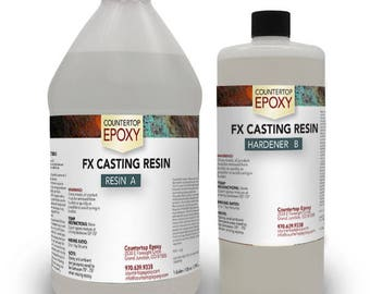 """FX Casting Resin - Non-Toxic, Ultra-Clear Resin for Casting and Embedding - Pour up to 1"""" at a Time - 3 Quarts"""