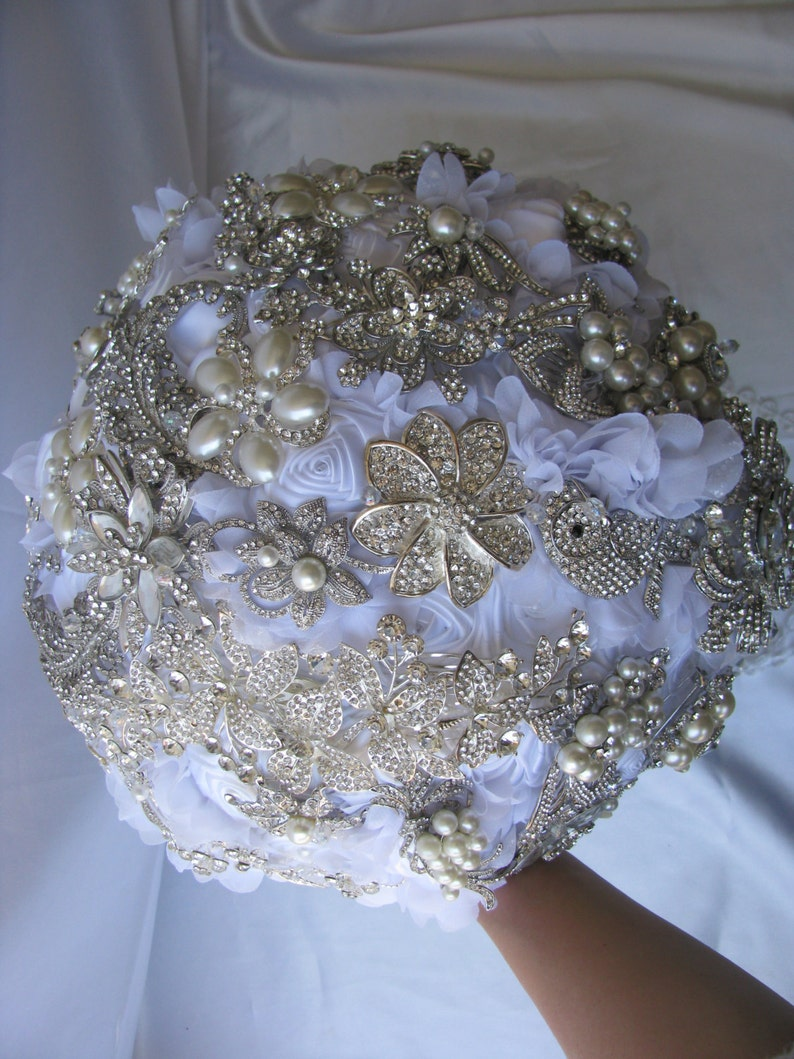 cascading fabric bouquet white winter bouquet white bouquet Ready to ship brooch bouquet