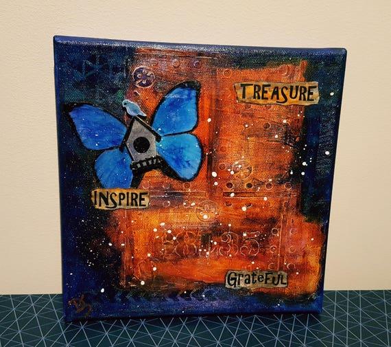 Mixed Media Canvas - Inspire Treasure Grateful