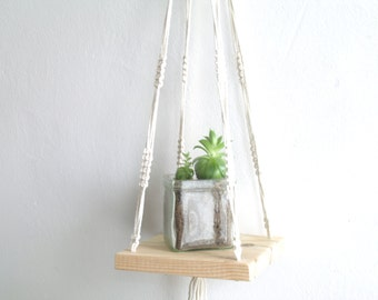 Small macrame hanging swing shelf