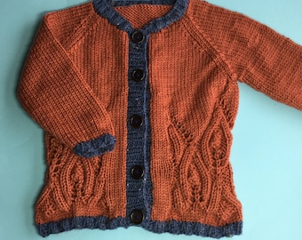 Hand Knitted Sweater - Girls Knitted Cardigan - Toddler Cardigan - Warm Sweater - Cute Cardigan for Toddler Girl - Little Girl Clothing