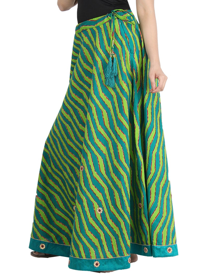 Smart Soft Cotton Stripes-Laharia Printed Green A Line Skirt with Smart ethnic work
