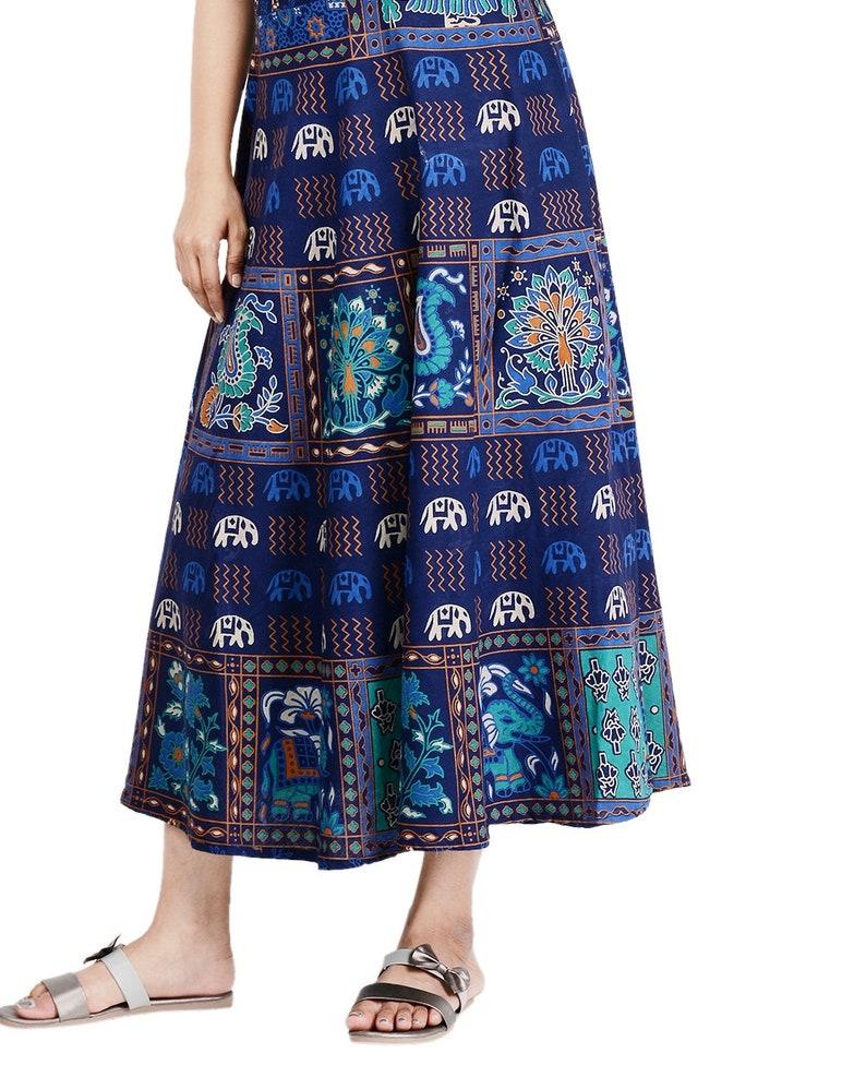 Lange indische Baumwolle Kleid blau Elefant und Pfau | Etsy