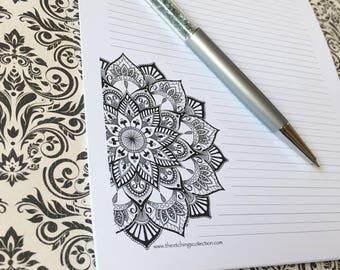 Mandala-Schreibwaren-Set, Brief schreiben, Set, einzigartige Briefpapier, Zentangle Buchstaben Set, persönliche stationär, Lotus Mandala Designpapier,