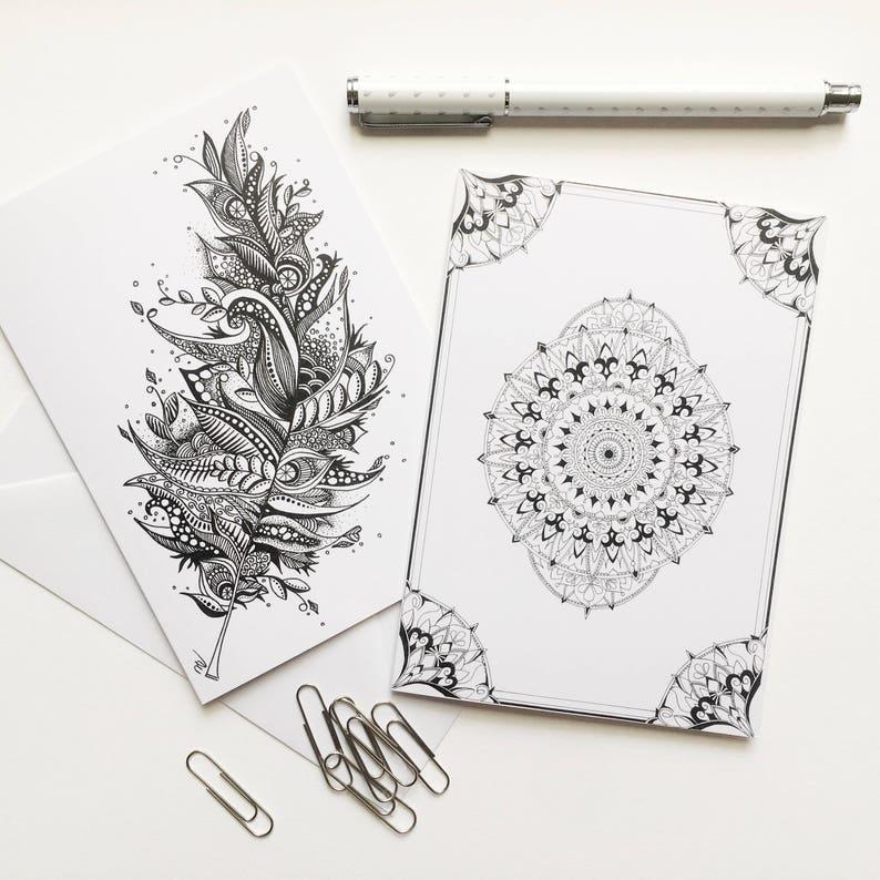 Boho Greeting Cards Handmade Hand Drawn