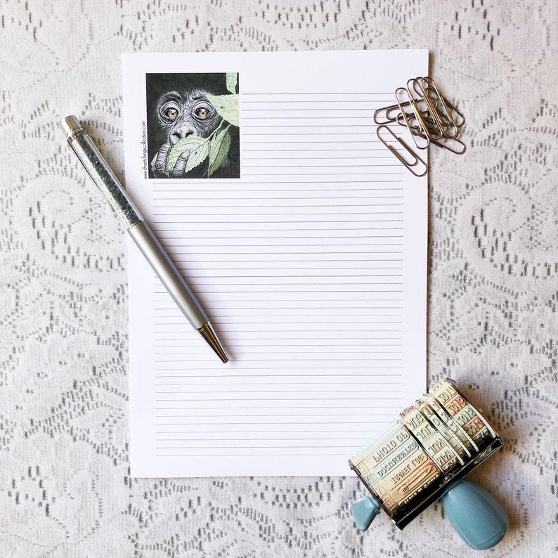 Gorilla Stationery Stationary Gift Set Writing Paper Set Jungle Theme Letter Set Stationary Set Letter Stationary Letter Writing Set