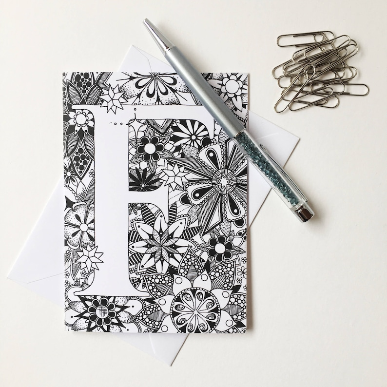 Personalised Cards Name Zentangle Greeting Card