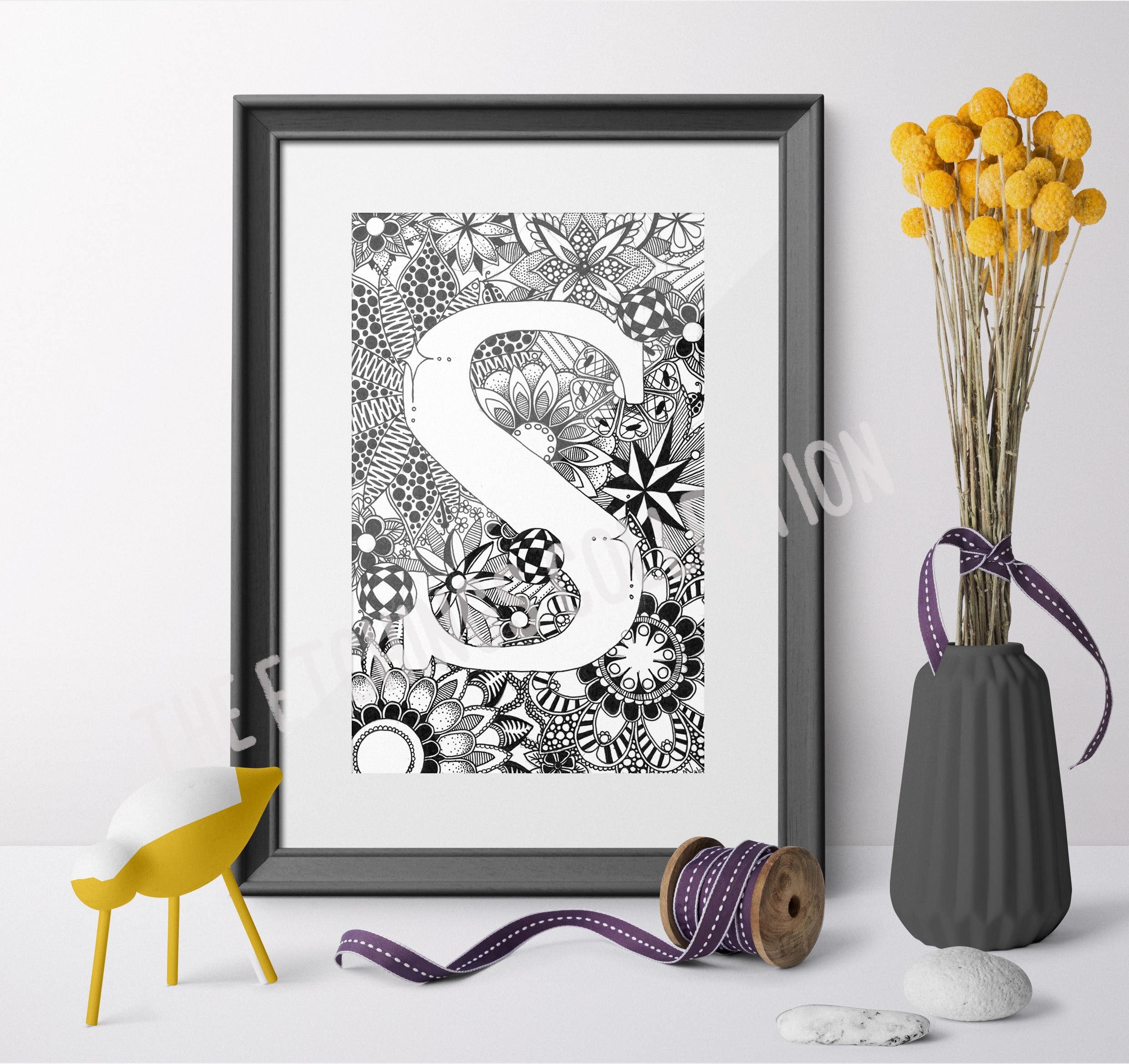 Custom Monogram Letters Custom Name art Watercolor Letter Newborn Gift Nursery name art Nursery Decor Alphabet Letter Print