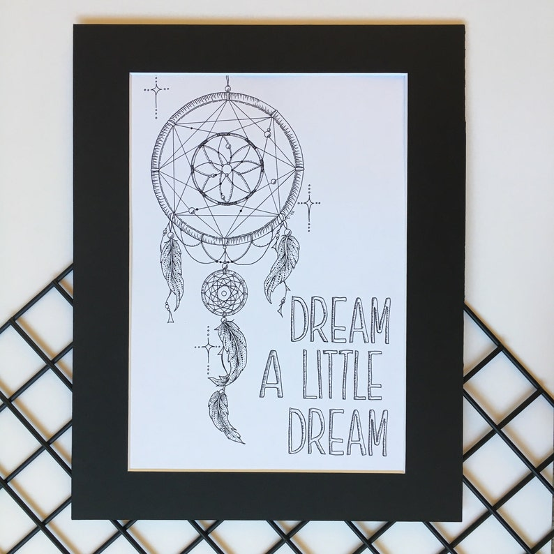 Boho Dreamcatcher Art Print Dreamcatcher Drawing Nursery Etsy