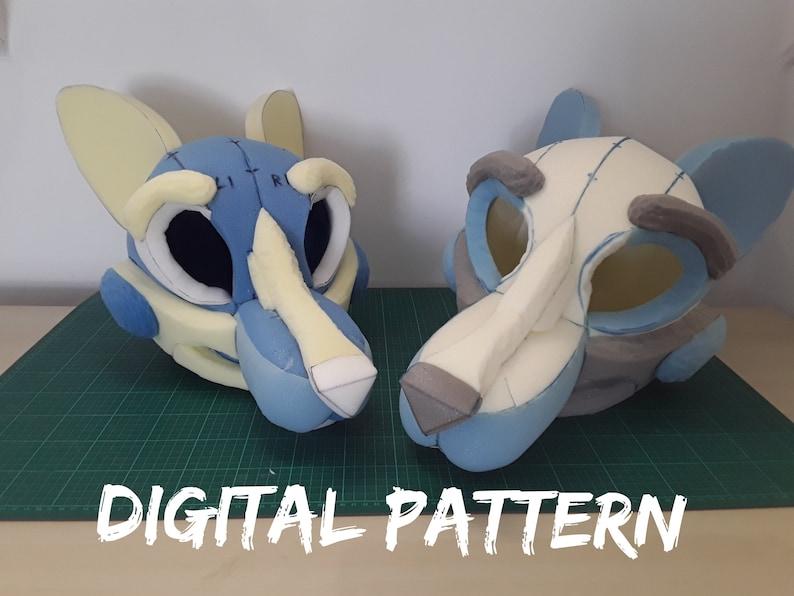 Digital Pattern Canine Fox Fursuit Head base Pattern K9  / image 0