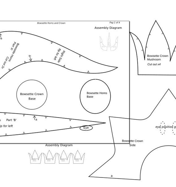 Bowsette Horns And Crown Cosplay Foam Template Digital Pdf Make Your Own