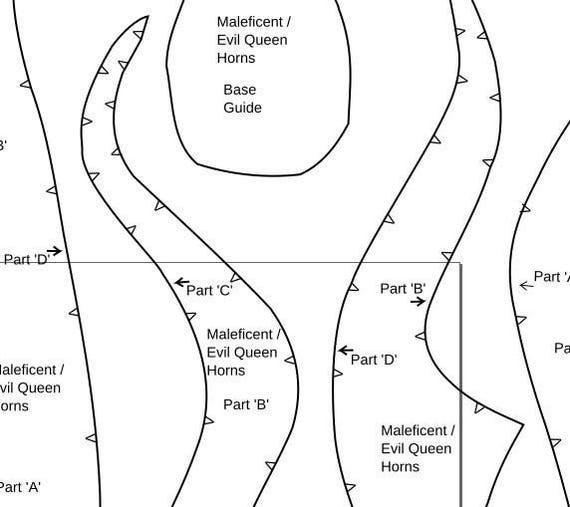 Maleficent Style Horns Foam Template Make Your Own Digital Pdf Make Your Own