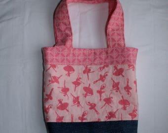 BluJean Pink Ballet Dancer Lined/Reversible Tote Bag