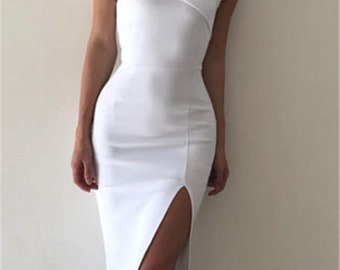 White Bodycon Silk Dress