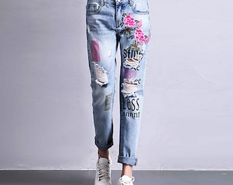 b6234daf8c7 embroider jeans woman