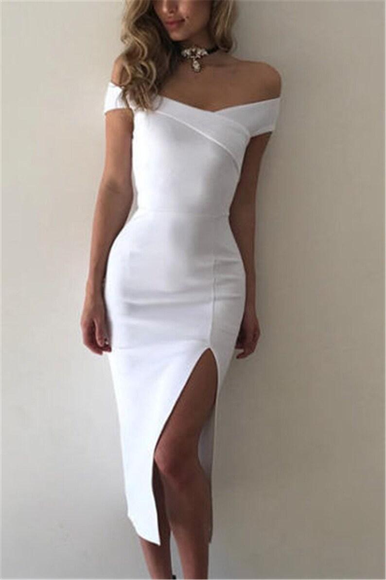 Cocktail dress off shoulder white dress. off the shoulder  58f67be4e