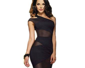 one shoulder bandage dress | bodycon dress | knit and mesh bandage dress  |  mini bodycon dress | off shoulder party dress