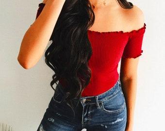 off shoulder top   off shoulder t-shirt   cropped top   knit crop top