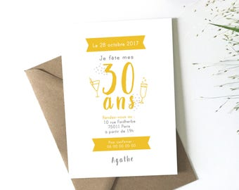 Adult, download, customize birthday invitation card, mother birthday, PDF file, petipeu, champagne, thirty years