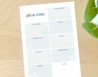 Liste de courses, à télécharger, illustration, liste course, à imprimer, organisation, papeterie, petipeu, A4, repas
