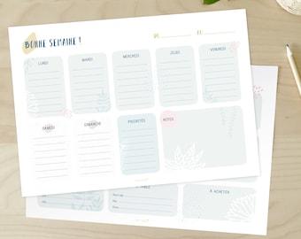 Pack daily planner et semainier, à télécharger, illustration, planning, à imprimer, organisation, rentrée, bureau, papeterie