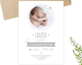 Birth to personalize, downloadable, printable invitation, petipeu, announcement, birth, baby pink baby card