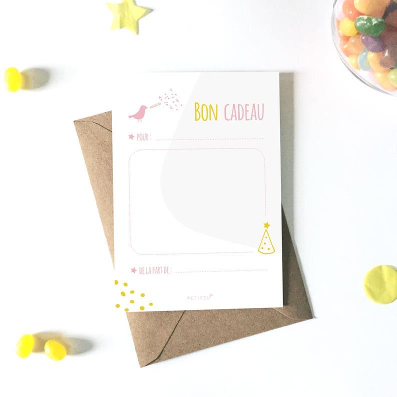 Carte Bon Cadeau Enfant à Télécharger Carte Cadeau Anniversaire Animaux Carte Vierge Fichier Pdf Petipeu Oiseau Rose Cadeau