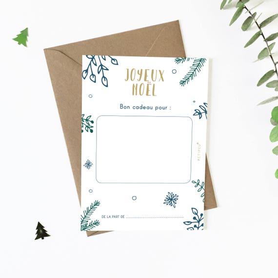 Carte Bon Cadeau De Noël à Télécharger Carte Cadeau Joyeux Noël Carte Vierge Fichiers Pdf Petipeu Feuilles Carte Noël Idée Cadeau