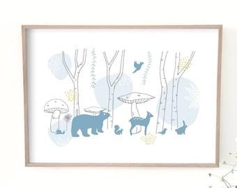 Kids poster, illustration, forest, animals, bear, rabbit, bird decor, nursery baby bedroom, child decor, poster, birth gift