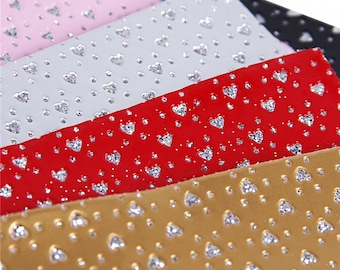 Valentine's Day Glitter Heart Faux Leather Sheets,Valentine A4 Vinyl Fabric Sheet, Heart 8x11 Faux Leather, DIY Hair Bows, Earrings DIY