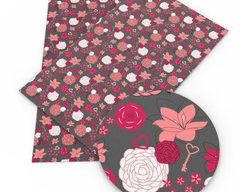 Floral Faux Leather Sheets, A4 Vinyl Fabric Sheet, 8x11 Faux Leather, DIY Hair Bows, Earrings DIY