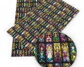 Disney Princesses Stained Glass Faux Leather Sheets, Princesses A4 Vinyl Fabric Sheet, 8x11 Faux Leather, DIY Hair Bows, Earrings DIY