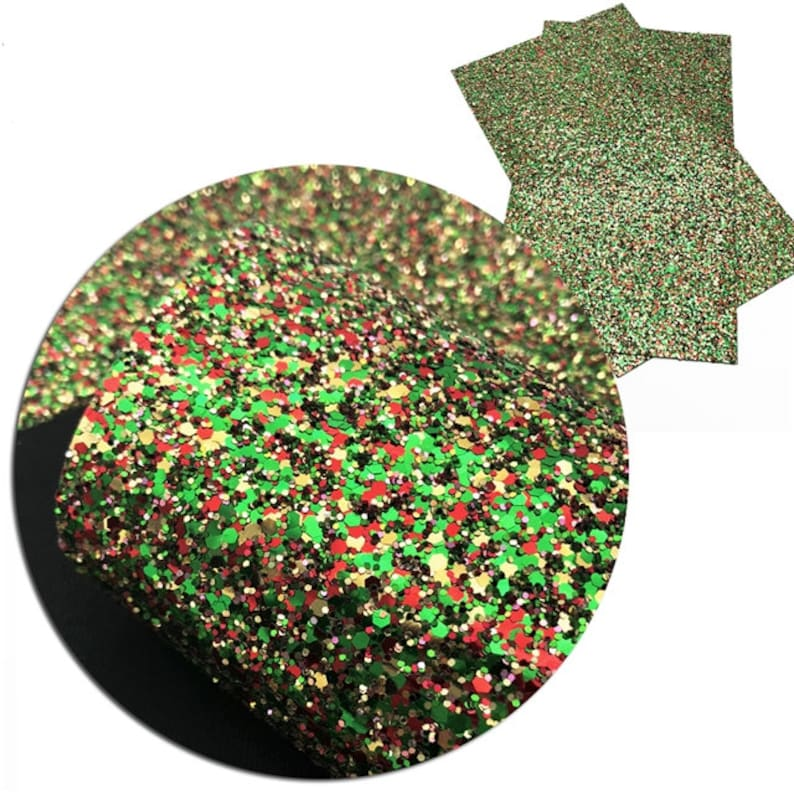 A4 Vinyl Fabric Sheet Christmas Chunky Glitter Faux Leather Sheets Earrings DIY 8x11 Faux Leather DIY Hair Bows