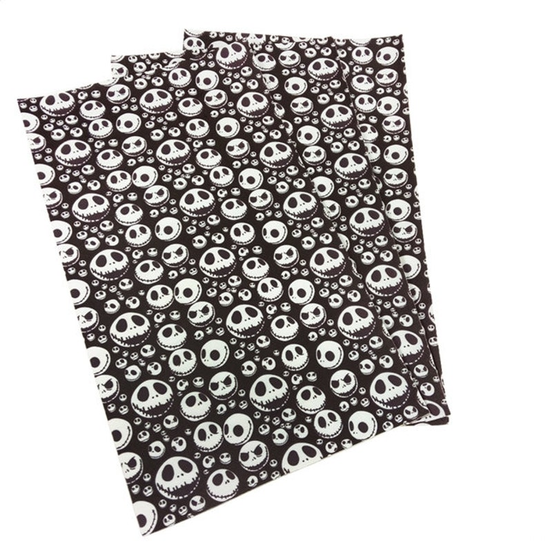 Halloween Jack Skeleton Faux Leather Bow Making Sheet Sheets
