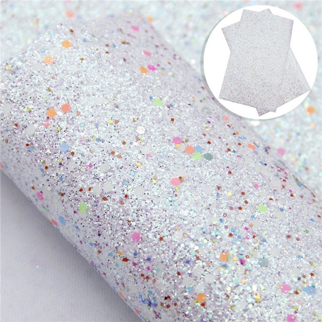 Spring Fling Series Cheery White Glitter Faux Leather
