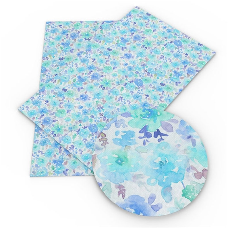 DIY Hair Bows A4 Vinyl Fabric Sheet 8x11 Faux Leather Watercolor Floral Faux Leather Sheets Earrings DIY