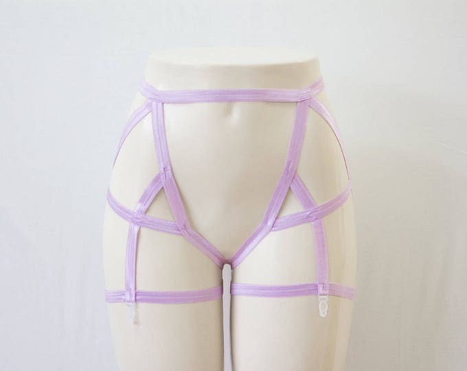 Purple Garter Belt: Lavender Body Harness, Purple Lingerie, Exotic Dancewear, Festival Shorts, High Waist Underwear, Pastel Goth Clothing