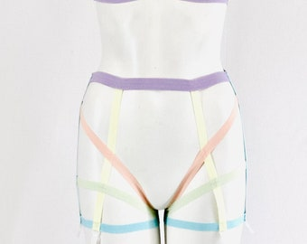 Rainbow Harness: Pride Outfit, Festival Fashion, LGBTQ+ Lingerie, Pastel Lingerie, Pole Fitness Clothing, Pastel Goth, Body Harness Lingerie
