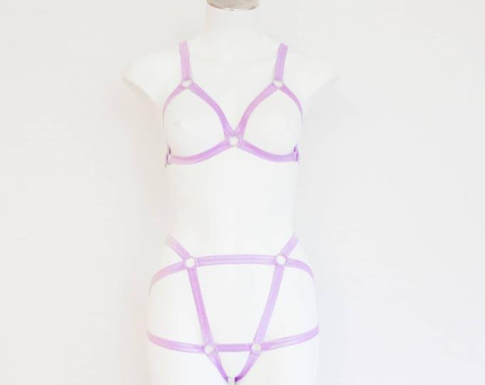 Pastel Goth Clothing: Purple Lingerie, Purple Body Harness, Festival Outfit, High Waist Underwear, Exotic Dancewear, Purple Bralette, Lilac